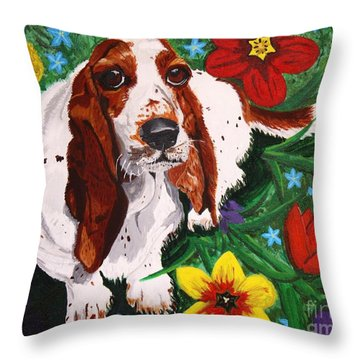 Basset Hound Throw Pillow by Vicki Maheu