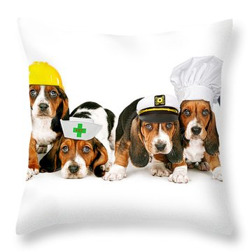 Bassets In Work Hats  Throw Pillow
