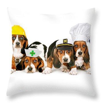 Bassets In Work Hats  Throw Pillow by Susan Schmitz