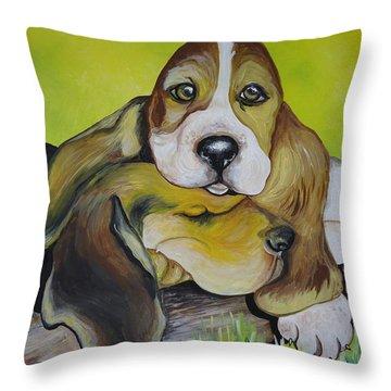 Bassett Hound Pups Throw Pillow