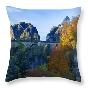 Bastei Bridge In The Elbe Sandstone Mountains Throw Pillow