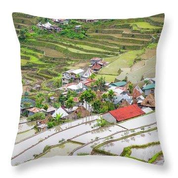 Batad Village, Banaue, Mountain Throw Pillow