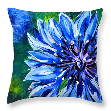 Throw Pillow featuring the painting Batchelor Button Flower by Lisa Fiedler Jaworski