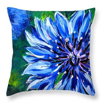 Batchelor Button Flower Throw Pillow by Lisa Fiedler Jaworski