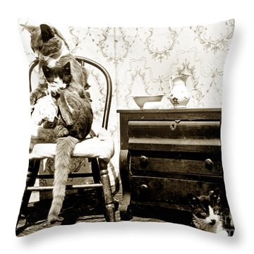 Throw Pillow featuring the photograph Bath Time For Kitty Circa 1900 Historical Photos by California Views Mr Pat Hathaway Archives