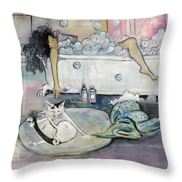 Bath Time Throw Pillow by Leela Payne