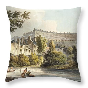 Bath Wick Ferry, From Bath Illustrated Throw Pillow by John Claude Nattes