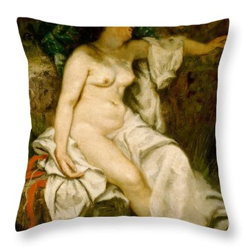 Bather Sleeping By A Brook Throw Pillow by Gustave Courbet