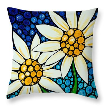 Bathing Beauties - Daisy Art By Sharon Cummings Throw Pillow by Sharon Cummings
