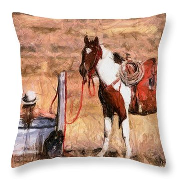 Bathing Cowgirl Throw Pillow by Murphy Elliott