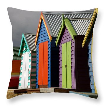 Bathing Huts Throw Pillow