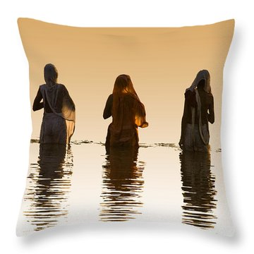 Bathing In The Holy River 2 Throw Pillow by Dominique Amendola
