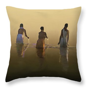 Bathing In The Holy River By Dominique Amendola Throw Pillow by Dominique Amendola