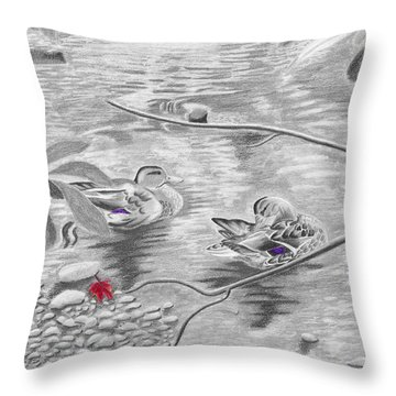 Bathing In The River Throw Pillow
