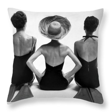 Bathing Suit Models Throw Pillow