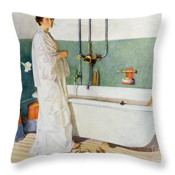 Bathroom Scene Lisbeth Throw Pillow by Carl Larsson