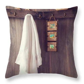 Bathroom Wall Throw Pillow by Amanda Elwell