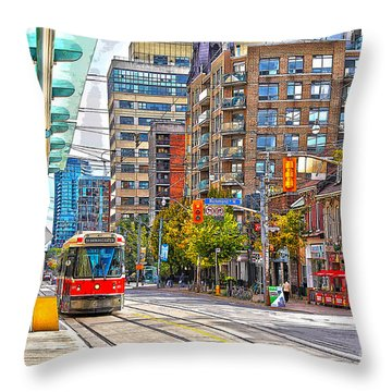 Bathurst Street Car Coming North To Queen Street Throw Pillow
