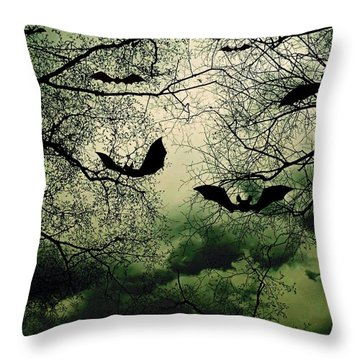 Bats From Hell Throw Pillow