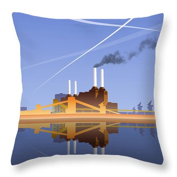 Throw Pillow featuring the digital art Battersea Infinity by Nop Briex