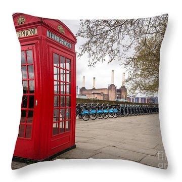 Battersea Phone Box Throw Pillow by Matt Malloy