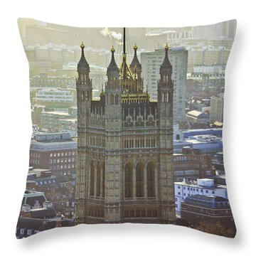 Battersea Power Station And Victoria Tower London Throw Pillow by Terri Waters