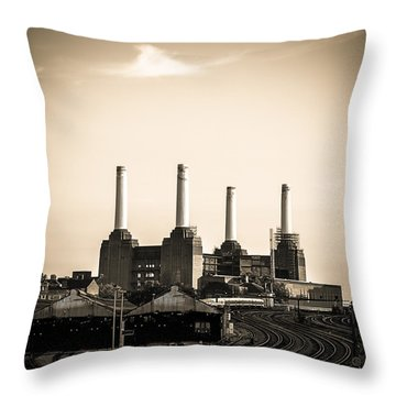 Battersea Power Station With Train Tracks Throw Pillow