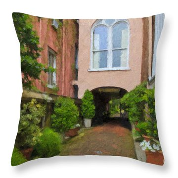 Battery Carriage House Inn Alley Throw Pillow