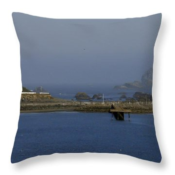 Battery Point Lighthouse And Castle Rock Throw Pillow