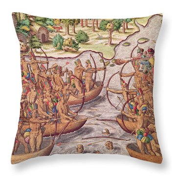 Battle Between Indian Tribes Throw Pillow by Jacques Le Moyne