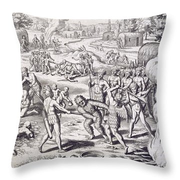 Battle Between Tuppin Tribes Throw Pillow by Theodore De Bry