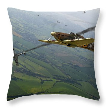Battle Of Britain Dogfight Throw Pillow by Gary Eason