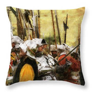 Throw Pillow featuring the digital art Battle Of Tewkesbury by Ron Harpham