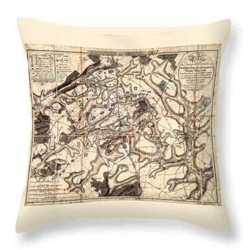 Battle Of Waterloo Old Map Throw Pillow