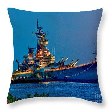 Battleship New Jersey At Night Throw Pillow
