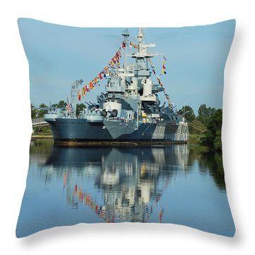 Battleship Reflections Throw Pillow by Bob Sample