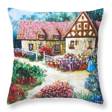 Bavarian Cottage Throw Pillow by Cheryl Del Toro