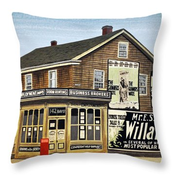 Throw Pillow featuring the painting Bay And Adelaide Streets 1910 by Kenneth M  Kirsch