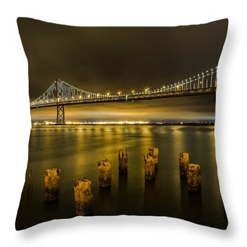 Bay Bridge And Clouds At Night Throw Pillow
