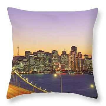 Bay Bridge At Night, San Francisco Throw Pillow