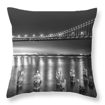 Bay Bridge Black And White Throw Pillow