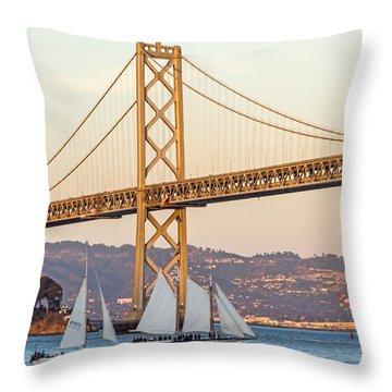 Bay Bridge Gold Throw Pillow by Kate Brown