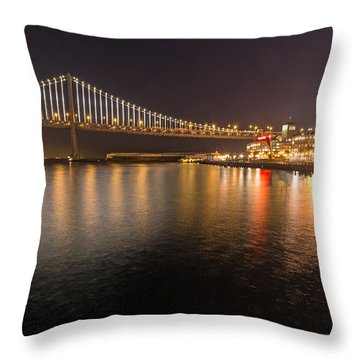 Bay Bridge Lights And City Throw Pillow
