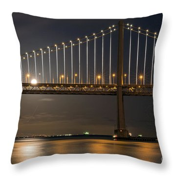 Bay Bridge Moon Rising Throw Pillow