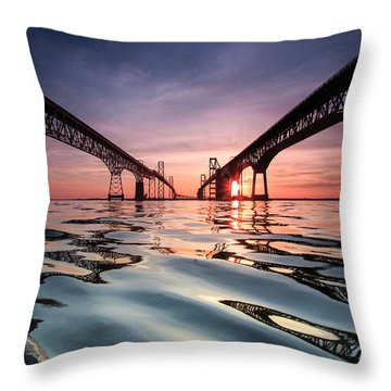Bay Bridge Reflections Throw Pillow by Jennifer Casey