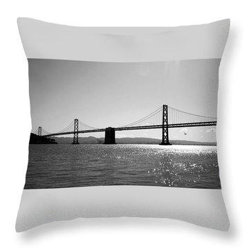 Bay Bridge Throw Pillow by Rona Black