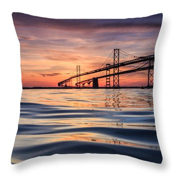 Bay Bridge Silk Throw Pillow by Jennifer Casey