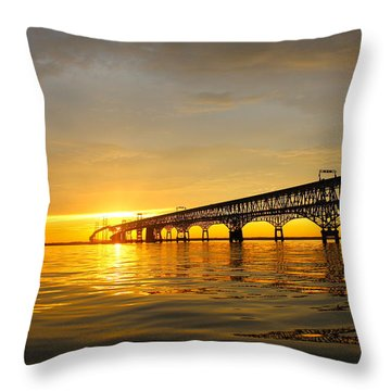 Bay Bridge Sunset Glow Throw Pillow by Jennifer Casey