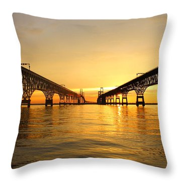 Bay Bridge Sunset Throw Pillow by Jennifer Casey