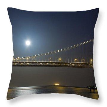 Bay Bridge Supermoon Throw Pillow